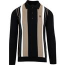 TROJAN RECORDS Mod Knitted Stripe Panel Polo BLACK