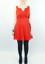 TULLE RETRO VINTAGE 50s PINTUCK DRESS SIERRA RED