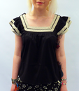 TULLE RETRO VINTAGE LACE TRIM TOP RETRO 50S TOP