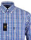 VIYELLA Retro 60s Mod Dobby Stripe On Check Shirt