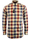 viyella retro 60s mod gold check button down shirt