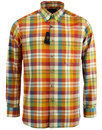 viyella retro 1960s mod madras check shirt green
