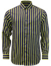 viyella striped shirt blue yellow retro mod