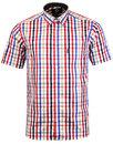 viyella mens retro 1960s mod satin check shirt red