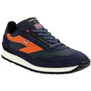 walsh made in england mens ensign retro suede canvas trainers navy orange