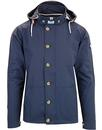 weekend offender burgess retro hooded jacket navy