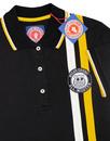 WIGAN CASINO Womens Retro Stripe Badged Polo BLACK