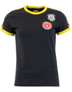 WIGAN CASINO Womens Twin Stripe Badge Tee BLACK