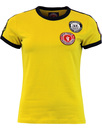 WIGAN CASINO Womens Twin Stripe Badge Tee GOLD