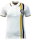 wigan casino womens badge stripe pique polo ecru