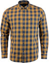 wrangler gingham check button down shirt brown