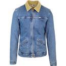 wrangler hawkins cord collar sherpa denim jacket blue stone