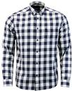wrangler 60s gingham check button down shirt navy