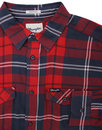 WRANGLER Retro Mod Plaid Check 2 Pocket Shirt RED