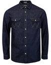 wrangler mens retro 70s western denim shirt indigo