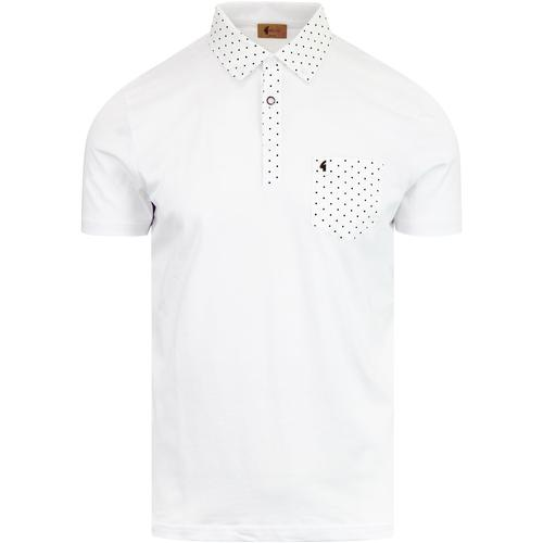 8cf7f3ca GABICCI VINTAGE Kemble Mod Polka Dot Shirting Polo White