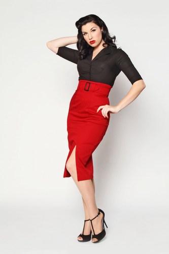 'Vogue' High Waisted Pencil Skirt by Heartbreaker
