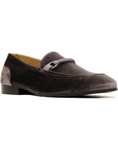 Renzo H By HUDSON Handcrafted Velvet Loafers GREY