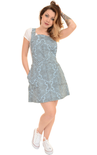 Retro 60s Psychedelic Paisley Denim Pinafore Dress