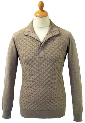 Arte JOHN SMEDLEY Retro Cable Knit Mod Pullover