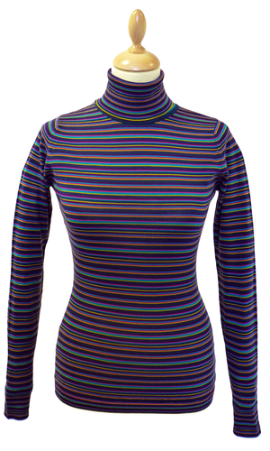 Oval JOHN SMEDLEY Retro Mod Multi Stripe Roll Neck