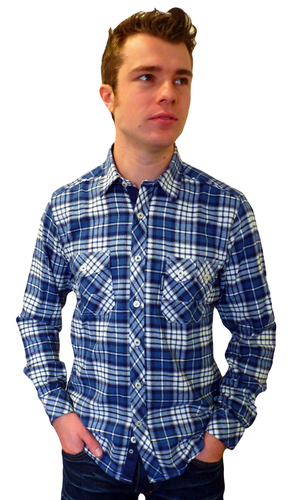 LAMBRETTA Retro Mod Brushed Cotton Check Shirt (D)