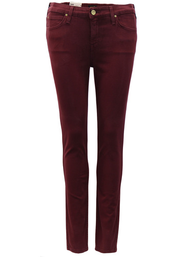 Scarlett LEE Retro Burgundy Womens Skinny Jeans