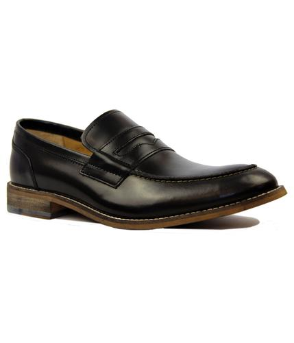 Marner IKON Retro Mod Black Leather Penny Loafers