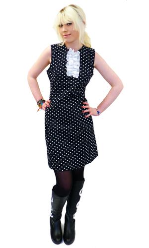Polkadot Retro Ruffle Front Sixties Mod Dress (B)