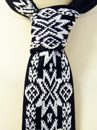 Fair Isle Star - Retro 60s Pattern Mod Knitted Tie