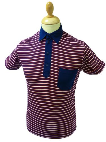 Mavers Mens Retro Sixties Stripe Mod Polo Shirt N