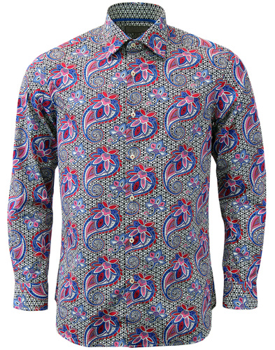 ROCOLA Retro Sixties Abstract Paisley Op Art Shirt