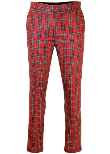 Retro Mod Sixties Slim Fit Stewart Tartan Trousers