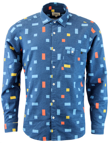TUKTUK Retro 70s Mens Mondrian Colour Block Shirt