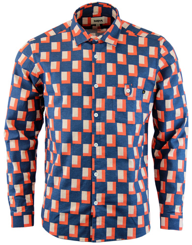 TUKTUK Retro 1970s Mens Geo Two Tone Tile Shirt