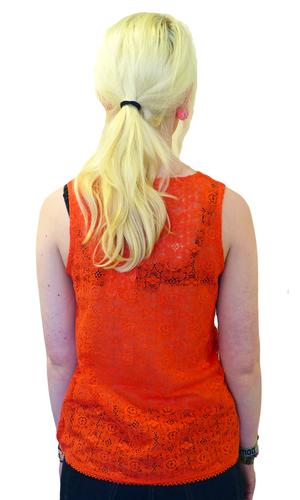 Bellflower TULLE Retro 60s Floral Crochet Mod Top