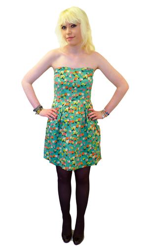 Tea Party TULLE Retro Floral Strapless Mod Dress