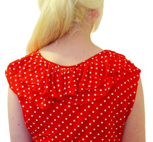 Double Ruffle TULLE Retro Sixties Polkadot Mod Top