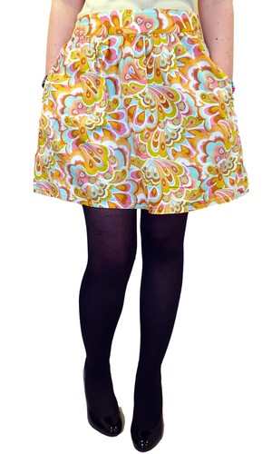 'Way Out' TULLE Retro Sixties Floral Flared Skirt
