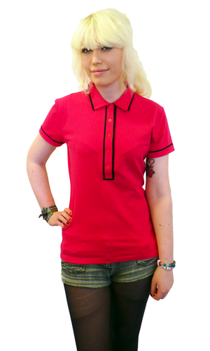 'Ronnie' - Womens Retro Mod Piped Polo Top (Pink)