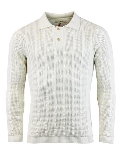 Aaron AFIELD 60s Mod Waffle Stripe Knitted Polo PW