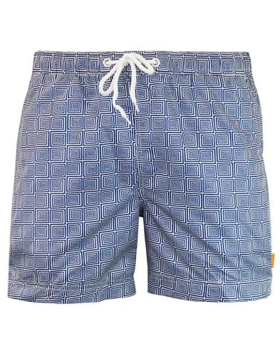 AFIELD Retro 70s Op Art Spiral Square Swim Shorts
