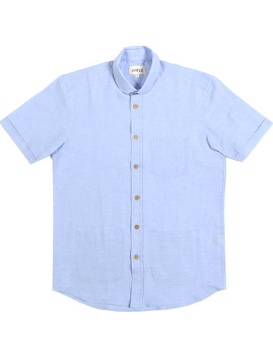 Santos AFIELD Retro Linen Penny Collar Shirt BLUE