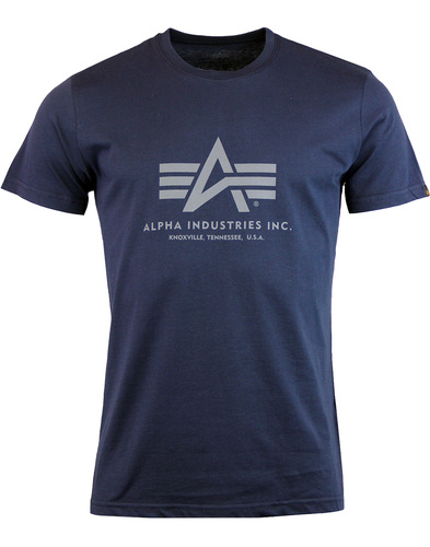 ALPHA INDUSTRIES Retro Basic Logo Tee - Blue
