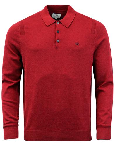BEN SHERMAN Mod Long Sleeve Knitted Polo - Red