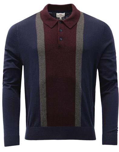 BEN SHERMAN 1960s Mod Colour Block Knit Polo NAVY
