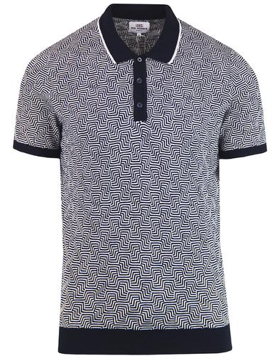 BEN SHERMAN Retro 60s Mod Op Art Argyle Polo Shirt