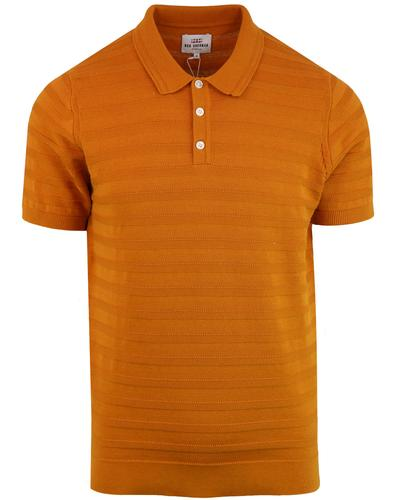 BEN SHERMAN 60s Mod Texture Stripe Knit Polo Shirt