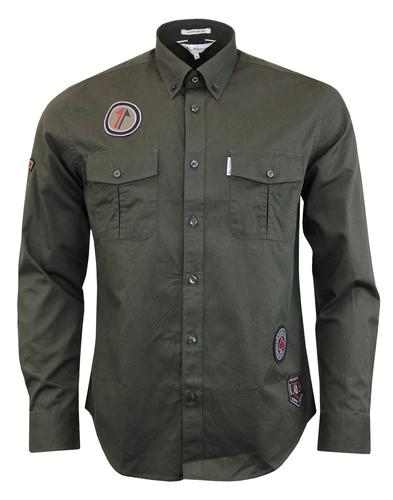 ben sherman twisted wheel shirt dark green mod