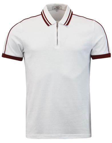 BEN SHERMAN Herringbone Tipped Zip Placket Polo